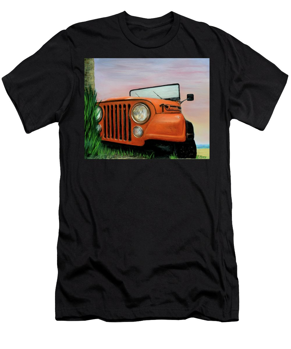 Hyper-realistic Men's T-Shirt (Athletic Fit) featuring the painting My Cj5 by Robert Tillberg