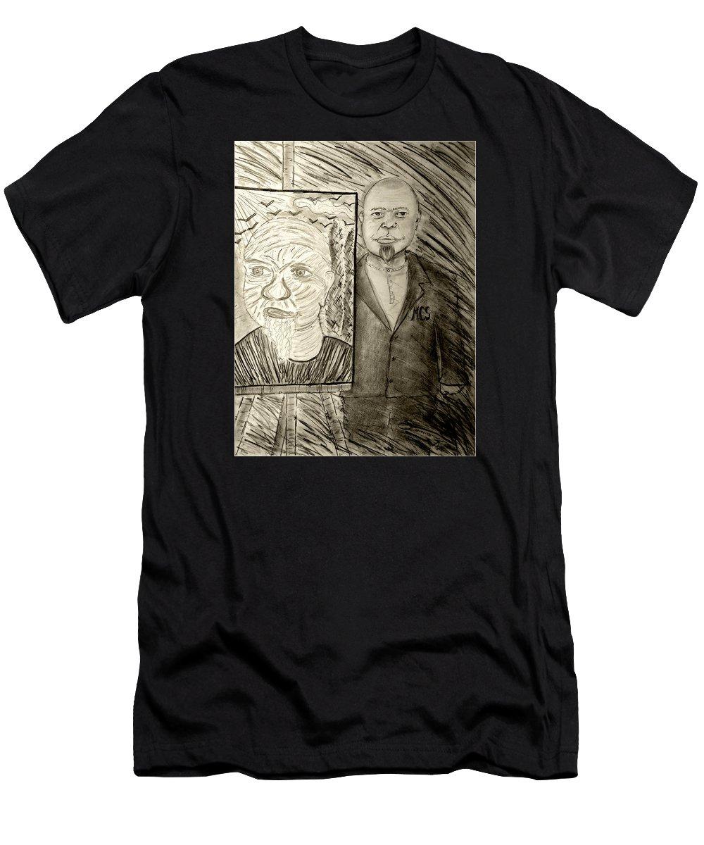 My Friend Marc C. Slootjes With One Of His Self-portrait. Men's T-Shirt (Athletic Fit) featuring the drawing My Friend Marc C Slootjes With One Of His Self-portrait by Jose A Gonzalez Jr