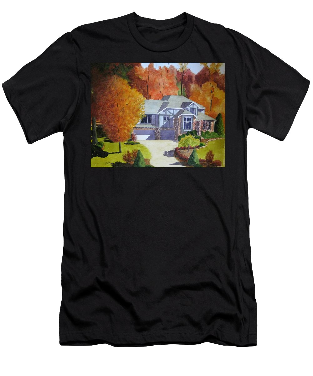 House Men's T-Shirt (Athletic Fit) featuring the painting My Friend's House by Julia RIETZ