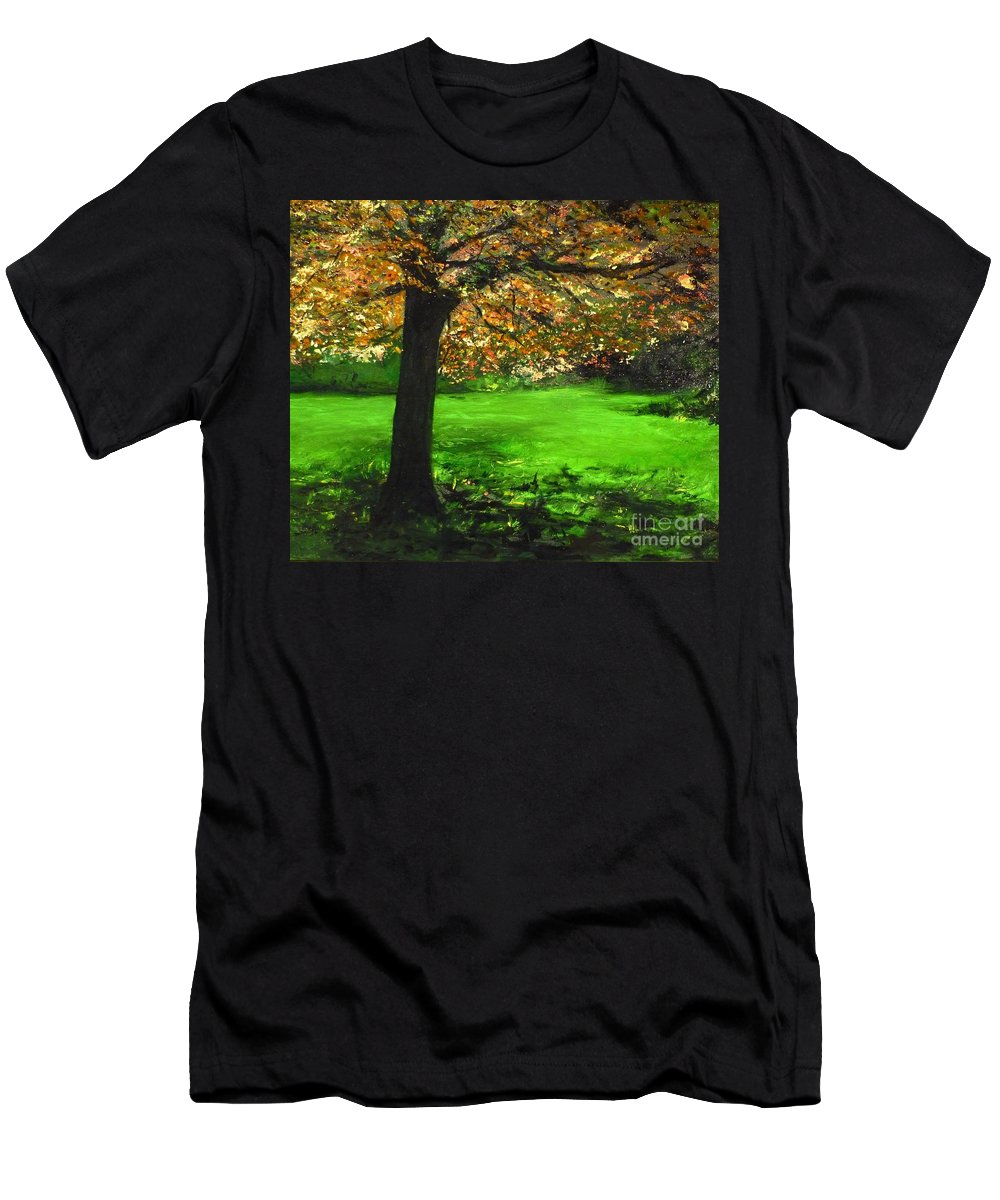 Spiritualism Men's T-Shirt (Athletic Fit) featuring the painting My Love Of Trees I by Lizzy Forrester