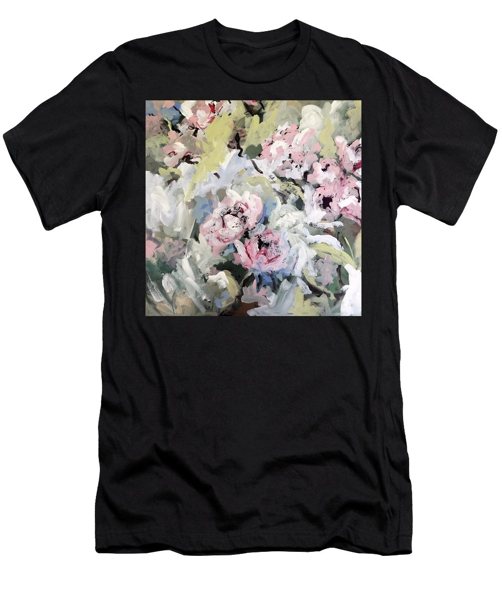 Pink Men's T-Shirt (Athletic Fit) featuring the painting My Momma's Peonies by Susan Elizabeth Jones