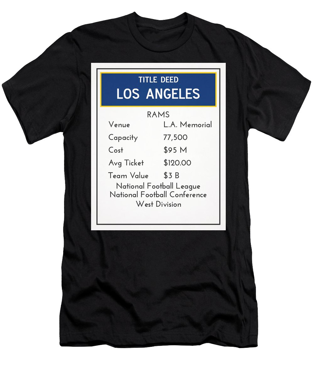 Rams Men's T-Shirt (Athletic Fit) featuring the mixed media My Nfl Los Angeles Rams Monopoly Card by Joe Hamilton