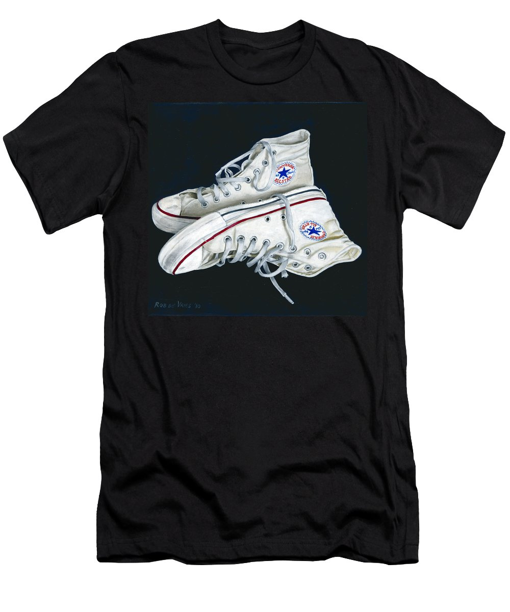 All Stars Men's T-Shirt (Athletic Fit) featuring the painting My Old All Stars by Rob De Vries