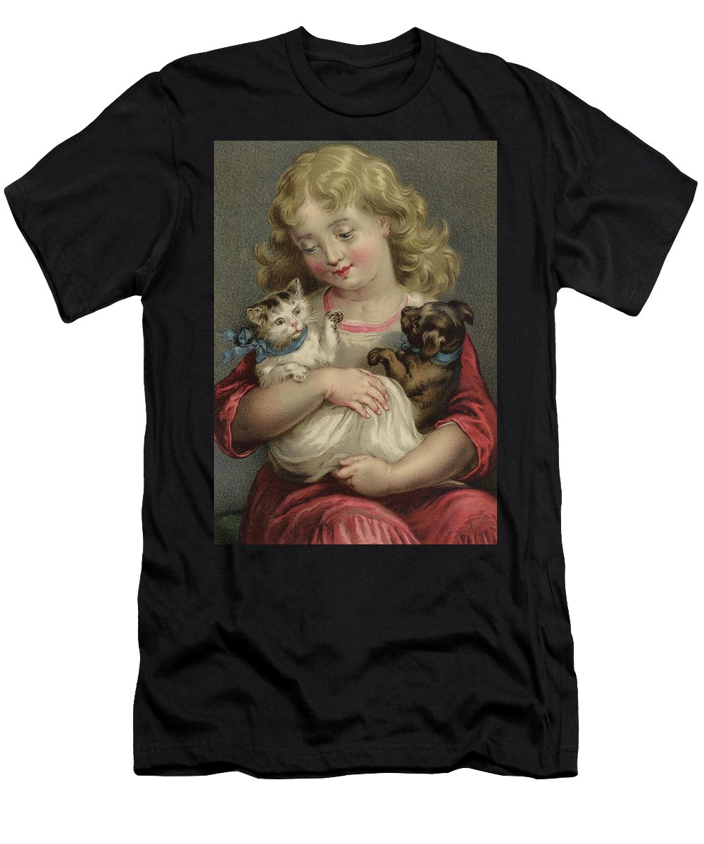 Pets Men's T-Shirt (Athletic Fit) featuring the painting My Pets by English School