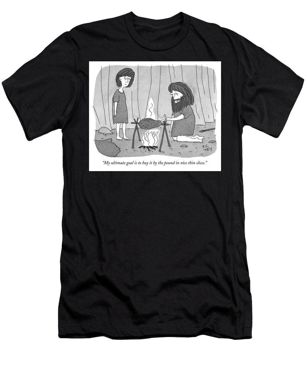 """""""my Ultimate Goal Is To Buy It By The Pound In Nice Thin Slices."""" Men's T-Shirt (Athletic Fit) featuring the drawing My Ultimate Goal Is To Buy It By The Pound by Peter C Vey"""