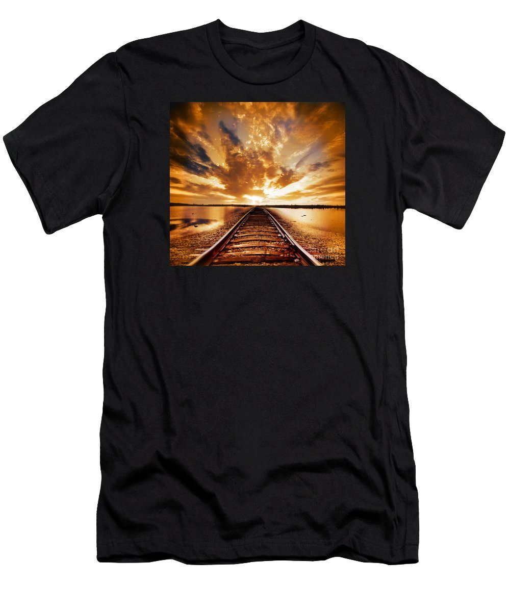 Water Men's T-Shirt (Athletic Fit) featuring the photograph My Way by Jacky Gerritsen