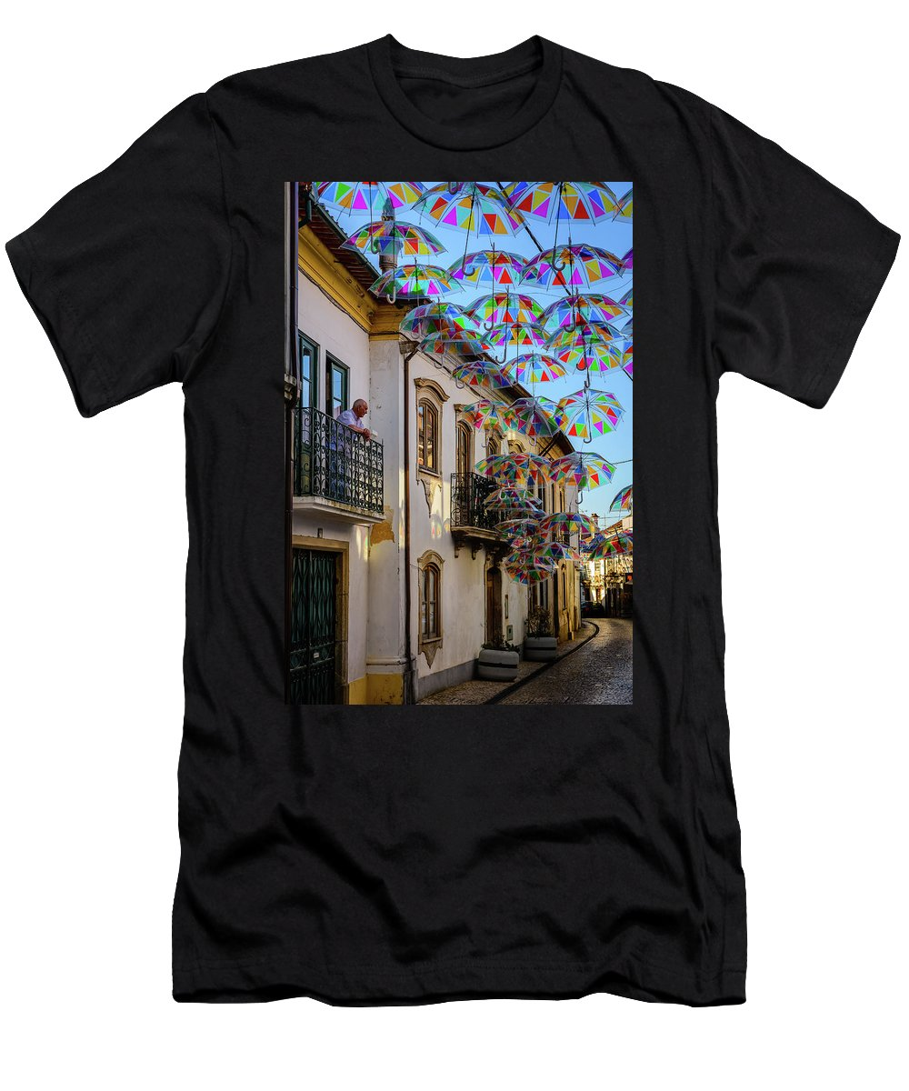 Floating Umbrellas Men's T-Shirt (Athletic Fit) featuring the photograph My Wonderful Street by Marco Oliveira