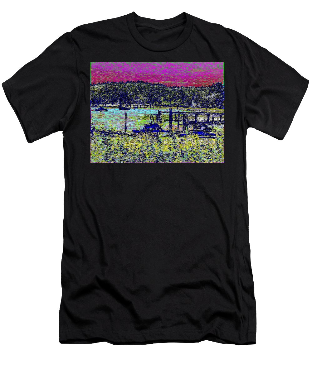Mystery Bay Men's T-Shirt (Athletic Fit) featuring the digital art Mystery Bay At Sunset by Tim Allen