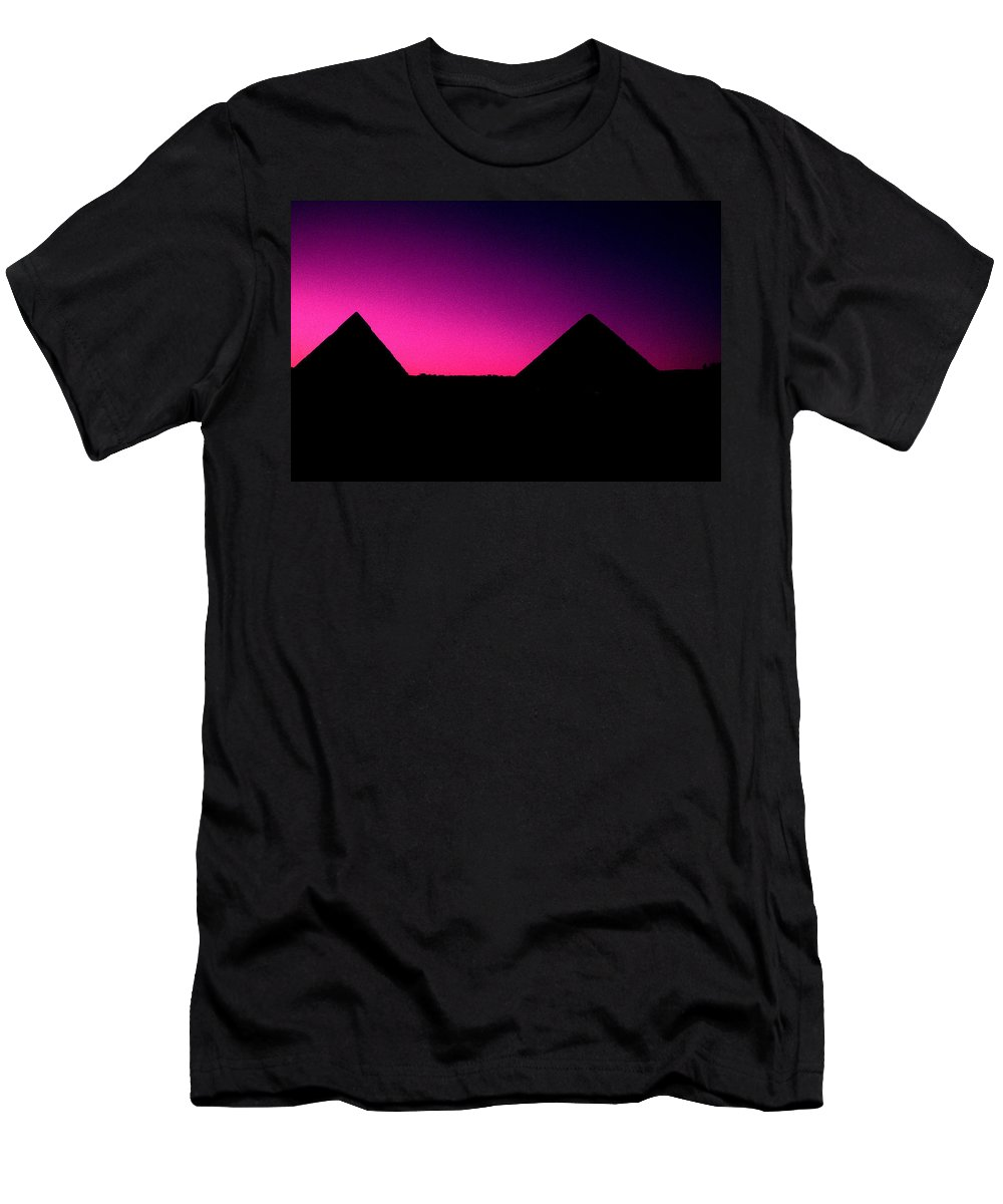Pyramids Men's T-Shirt (Athletic Fit) featuring the photograph The Pyramids At Sundown by Gary Wonning