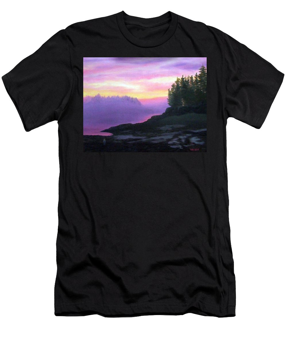 Sunset Men's T-Shirt (Athletic Fit) featuring the painting Mystical Sunset by Sharon E Allen