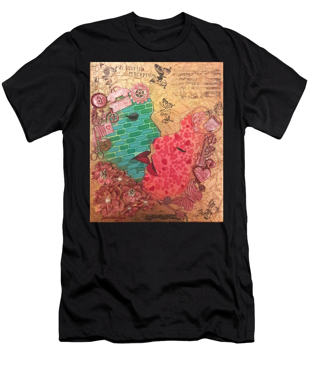 Mixed Media Men's T-Shirt (Athletic Fit) featuring the painting Mystified Perception by Sarandha D L