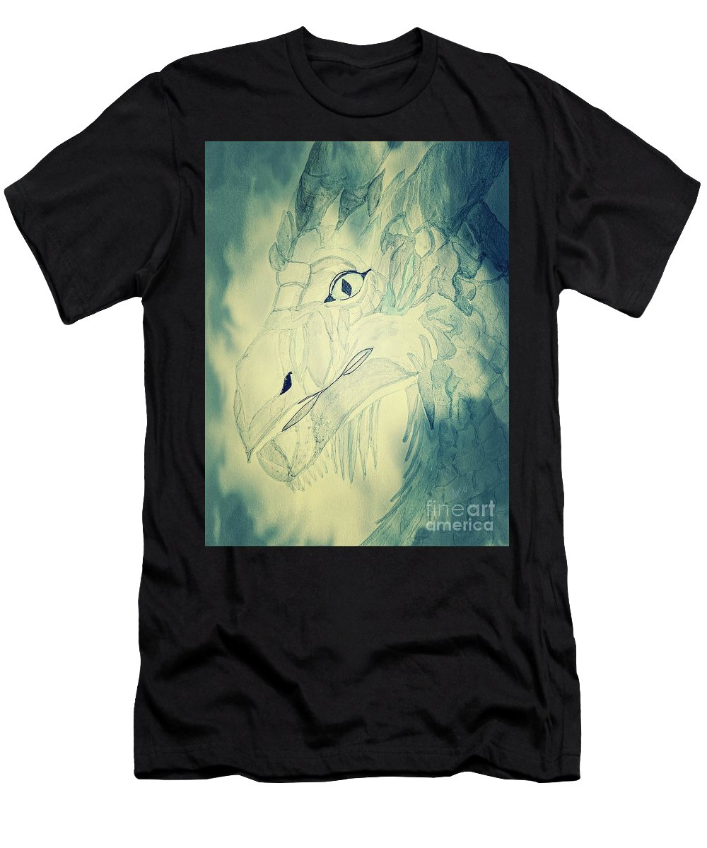 Mythical Dragon Men's T-Shirt (Athletic Fit) featuring the mixed media Mythical Dragon by Maria Urso