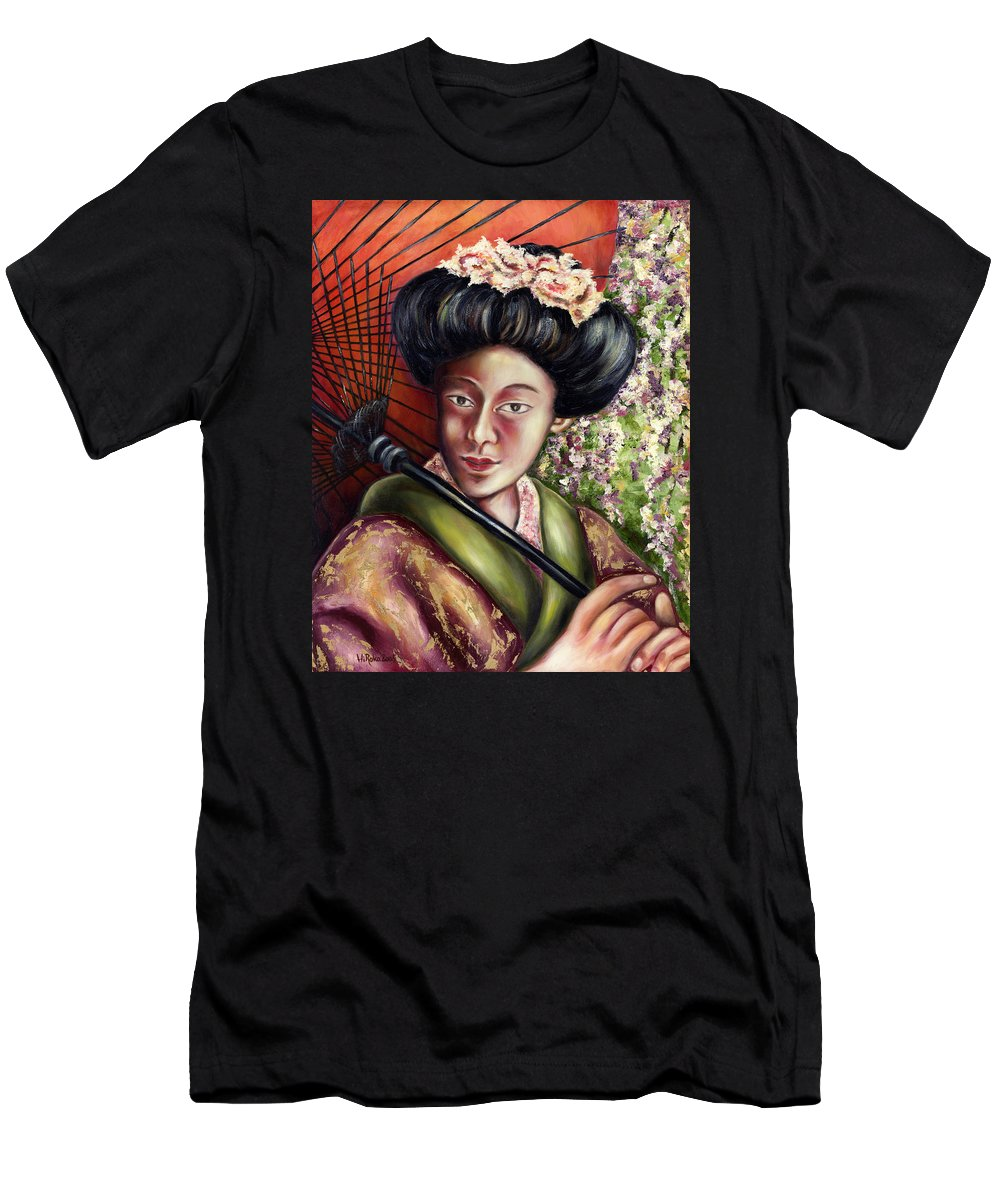 Japanese Men's T-Shirt (Athletic Fit) featuring the painting Nadeshiko by Hiroko Sakai