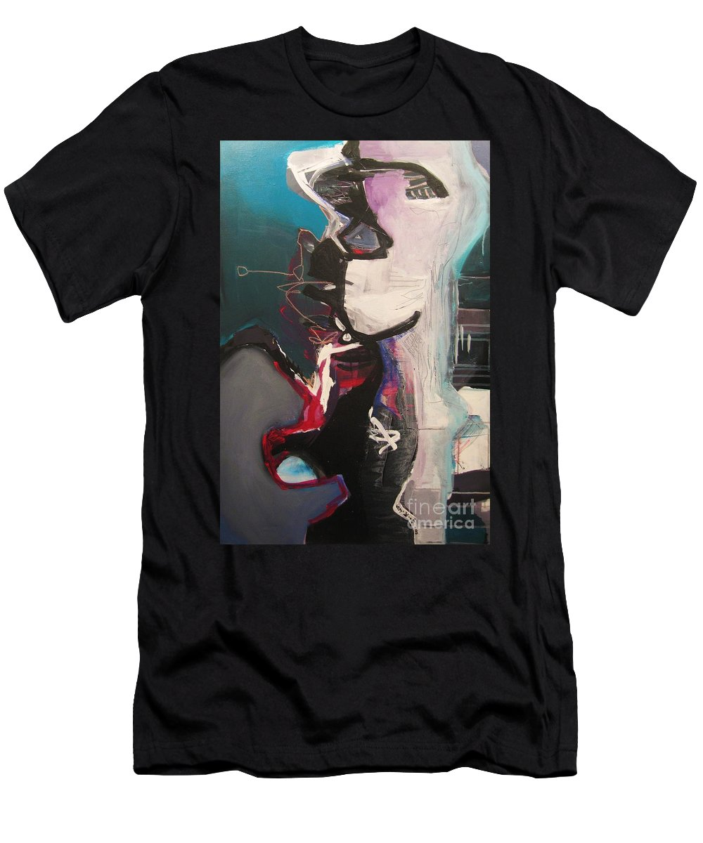Abstract Art Paintings Men's T-Shirt (Athletic Fit) featuring the painting Nagging Voice by Seon-Jeong Kim