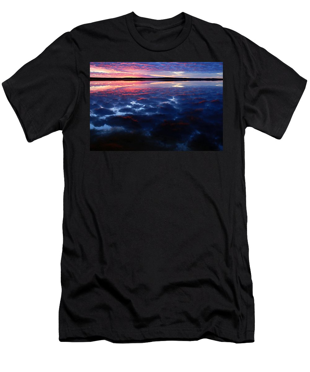 Namekus Lake Men's T-Shirt (Athletic Fit) featuring the photograph Namekus Lake Sunrise by Larry Ricker