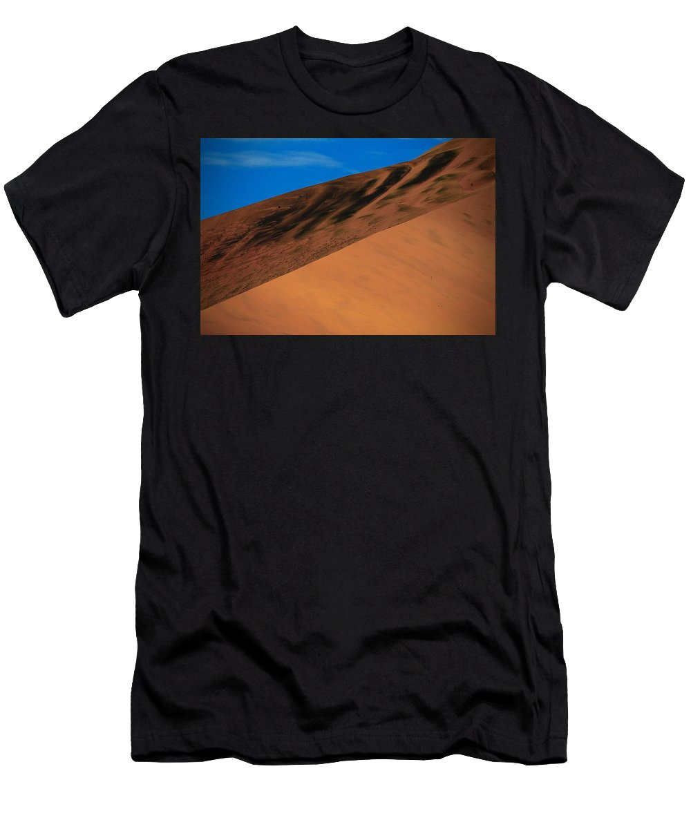 Sand Dune Men's T-Shirt (Athletic Fit) featuring the photograph Namibia Sand Dune by Stephen Poffenberger