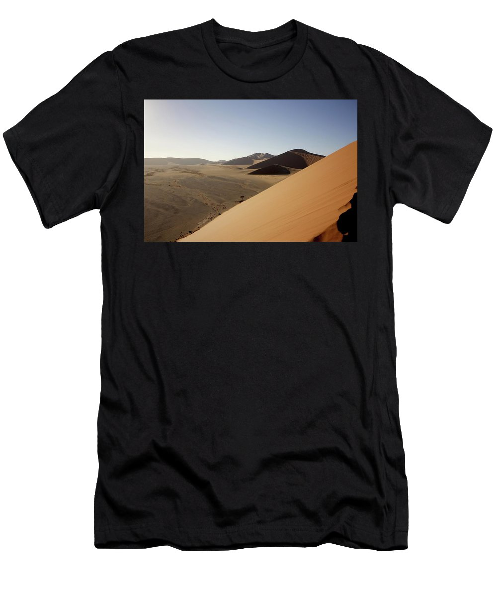 Namibia Men's T-Shirt (Athletic Fit) featuring the painting Namibia Sossusvlei 2 by Robert SORENSEN