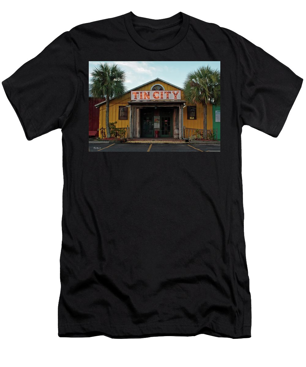 Florida Men's T-Shirt (Athletic Fit) featuring the photograph Naples Tin City - Open For Business by Ronald Reid