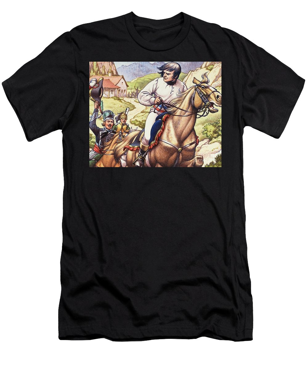 Napoleon Men's T-Shirt (Athletic Fit) featuring the painting Napoleon Making A Narrow Escape With An Austrian Cavalry Patrol Close On His Heels by Pat Nicolle