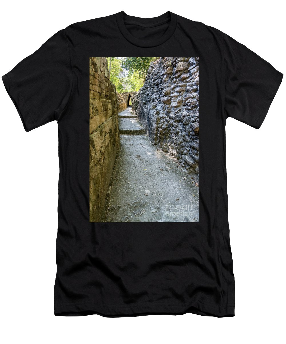 Becan Men's T-Shirt (Athletic Fit) featuring the photograph Narrow Mayan Road by Jess Kraft