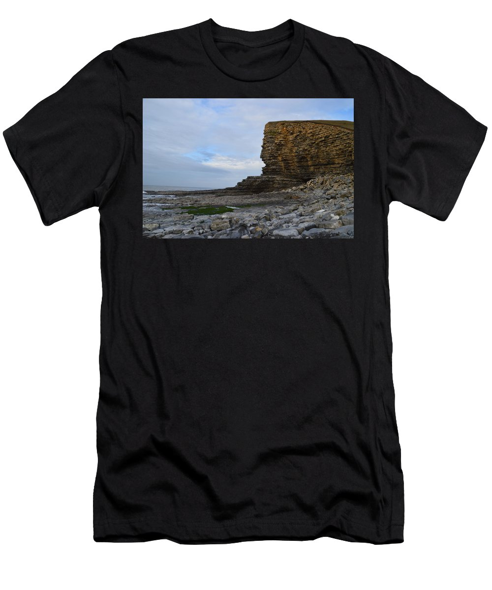 Nash Point Men's T-Shirt (Athletic Fit) featuring the photograph Nash Point In Wales by Stephen Jenkins
