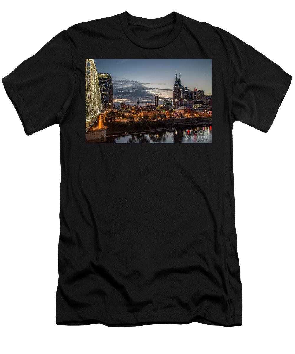 Reid Callaway Nashville Cityscape Art Men's T-Shirt (Athletic Fit) featuring the photograph Nashville Broadway Street Shelby Street Bridge Downtown Cityscape Art by Reid Callaway