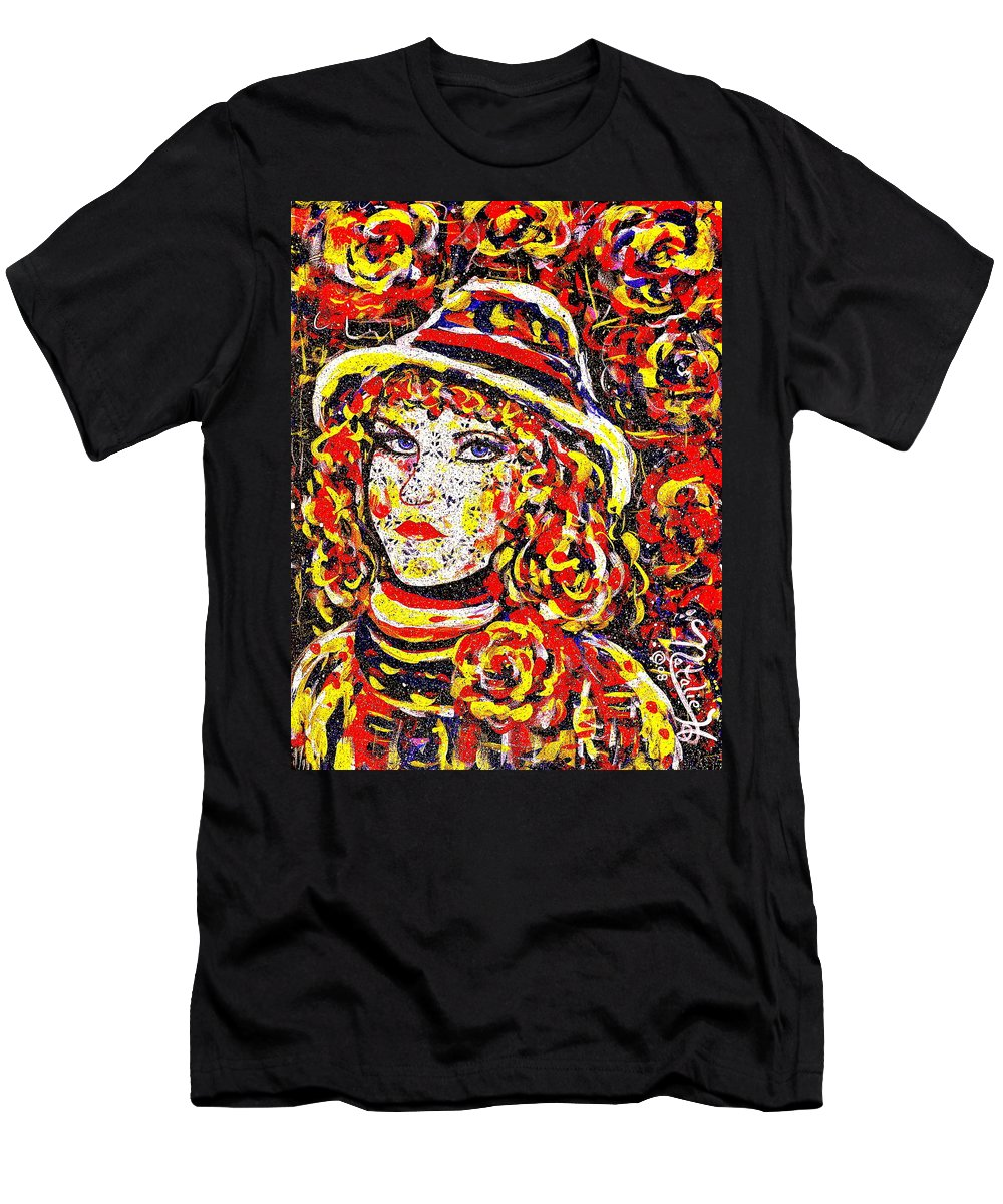 Woman Men's T-Shirt (Athletic Fit) featuring the painting Nat With The Hat by Natalie Holland