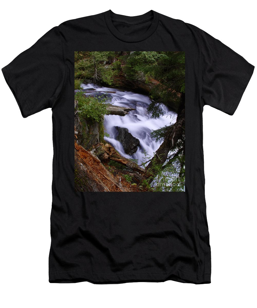 Waterfall Men's T-Shirt (Athletic Fit) featuring the photograph National Creek Falls 03 by Peter Piatt