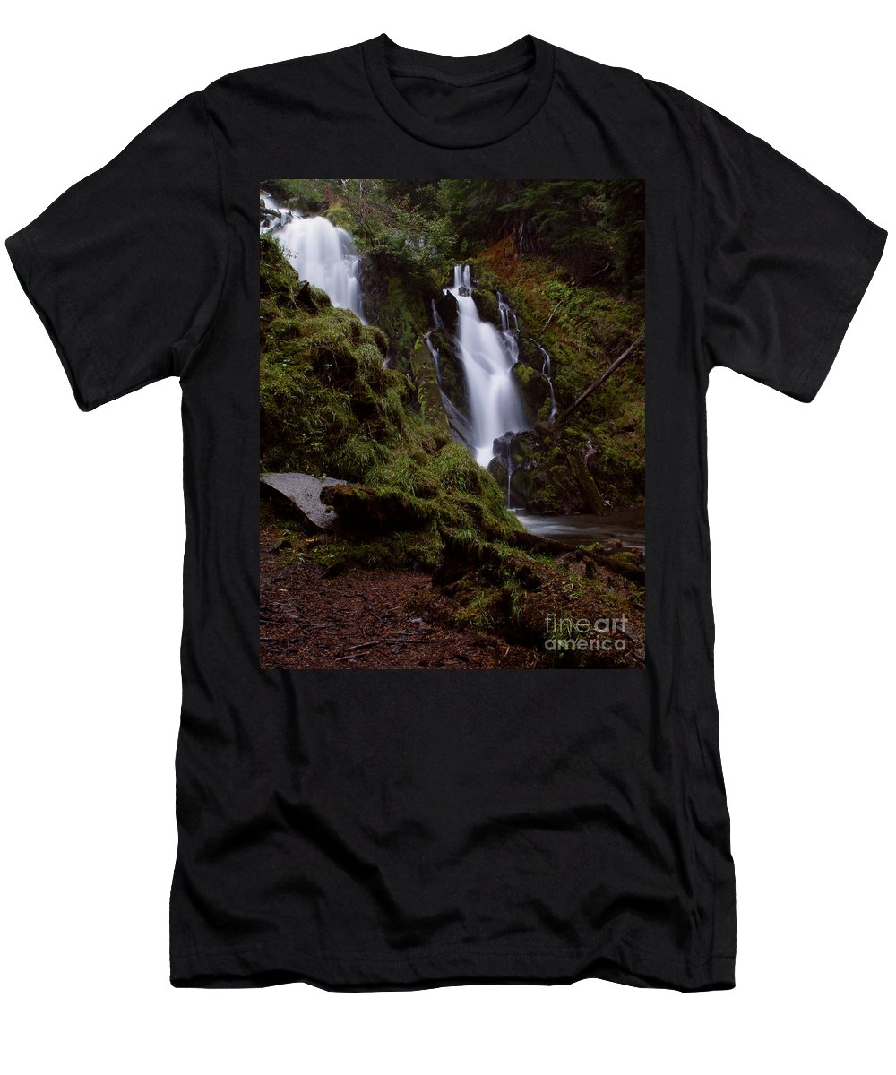 Waterfall Men's T-Shirt (Athletic Fit) featuring the photograph National Creek Falls 04 by Peter Piatt