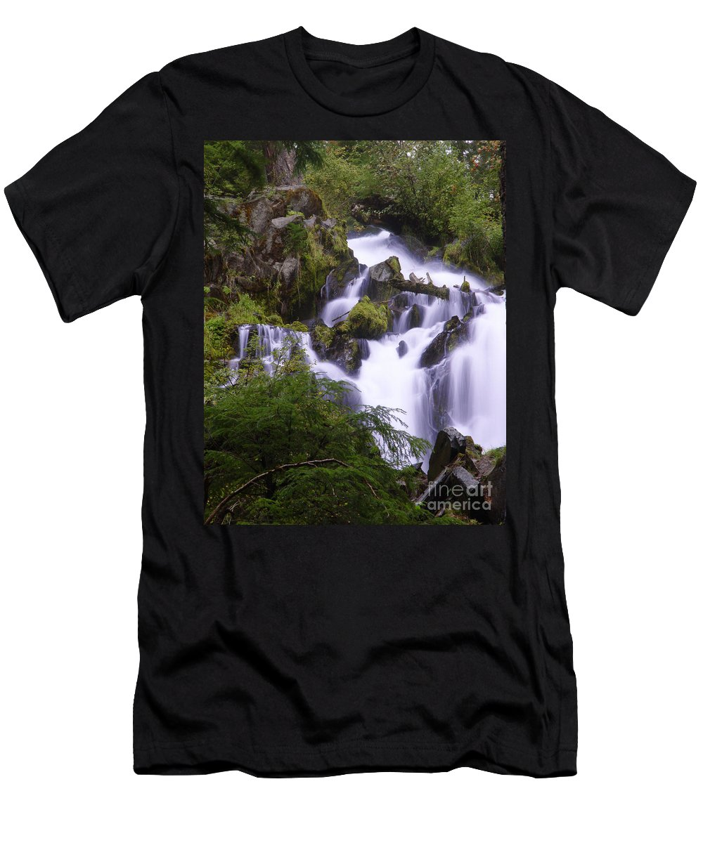 Waterfall Men's T-Shirt (Athletic Fit) featuring the photograph National Creek Falls 05 by Peter Piatt