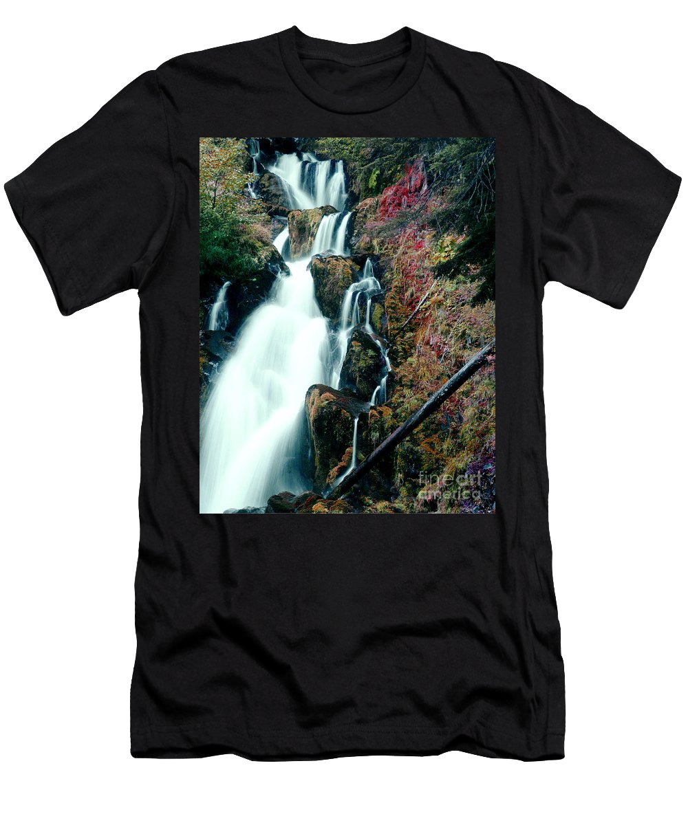 Waterfall Men's T-Shirt (Athletic Fit) featuring the photograph National Creek Falls 07 by Peter Piatt