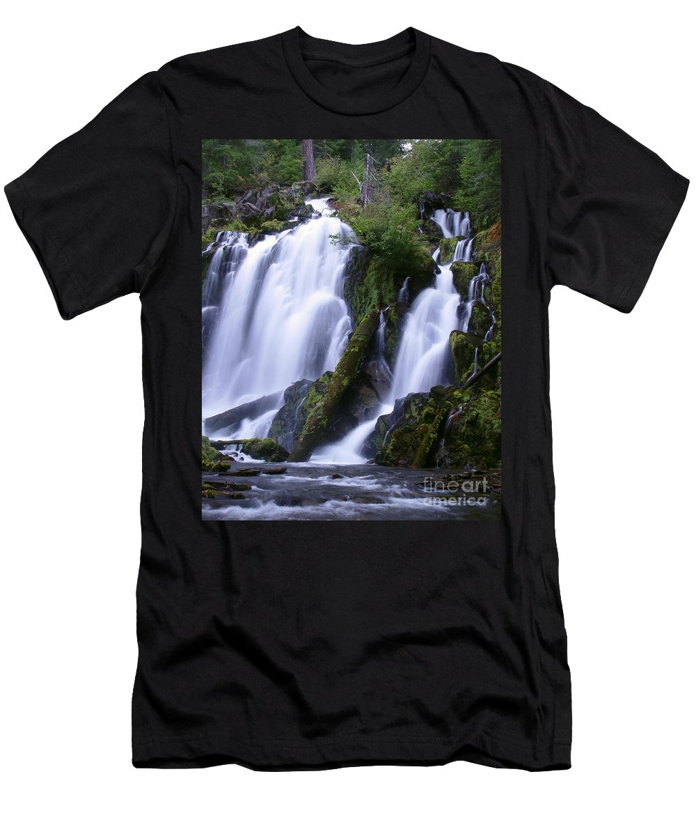 Waterfall Men's T-Shirt (Athletic Fit) featuring the photograph National Creek Falls 09 by Peter Piatt