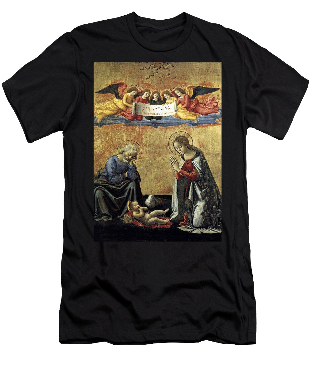 Nativity Men's T-Shirt (Athletic Fit) featuring the painting Nativity By Domenico Ghirlandaio by Munir Alawi