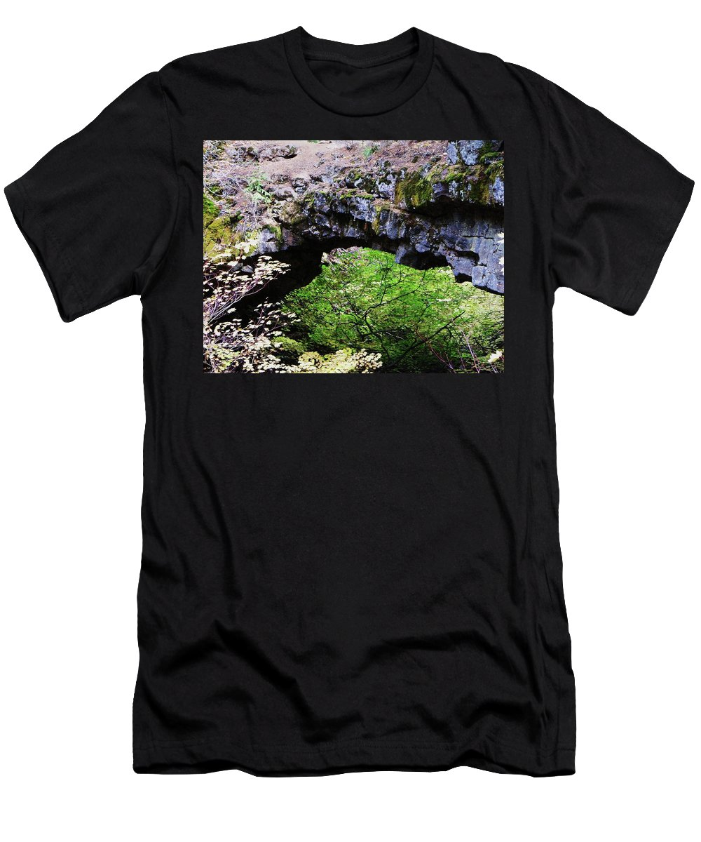 Rocks Men's T-Shirt (Athletic Fit) featuring the photograph Natural Bridge by Jeff Swan