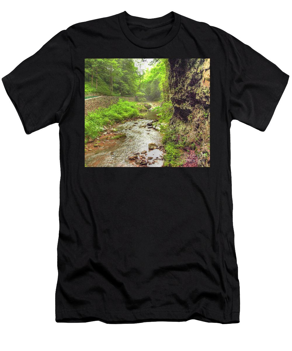 Stream Men's T-Shirt (Athletic Fit) featuring the photograph Natural Bridge Valley by Raymond Earley