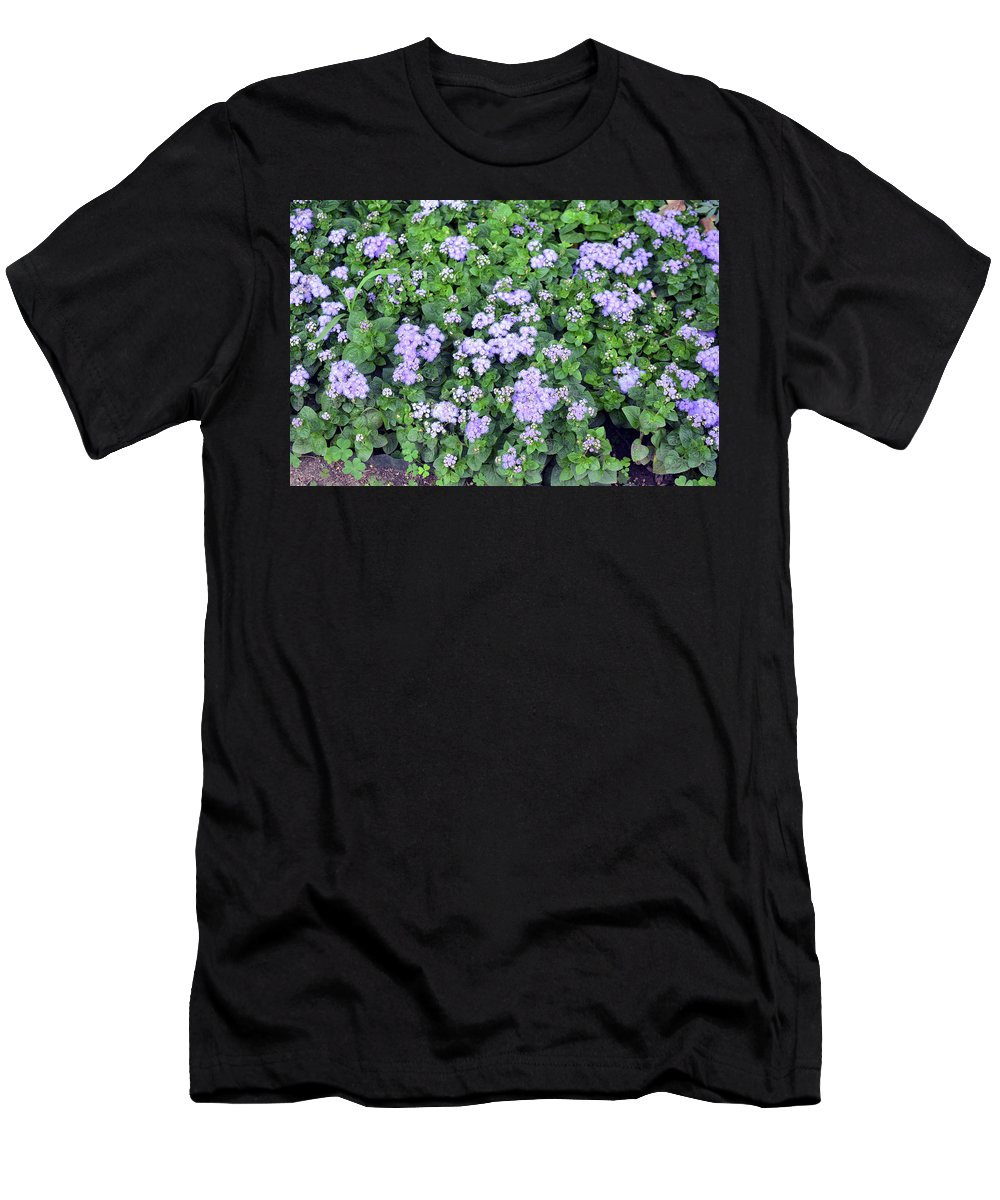 Background Men's T-Shirt (Athletic Fit) featuring the photograph Natural Bush With Purple Small Flowers. by Oana Unciuleanu