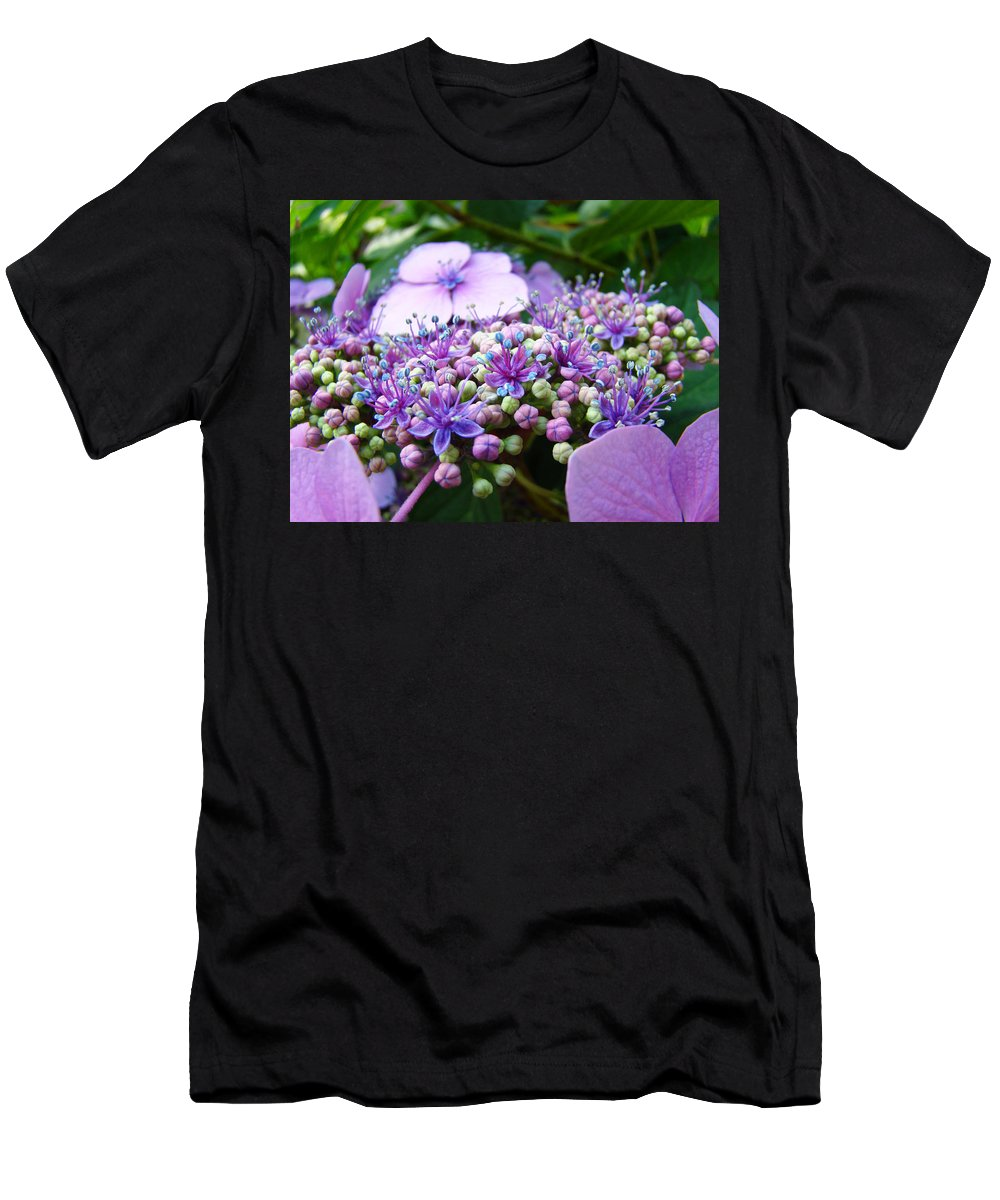 Nature T-Shirt featuring the photograph Nature Floral art prints Purple Hydrangea Flowers Baslee Troutman by Patti Baslee