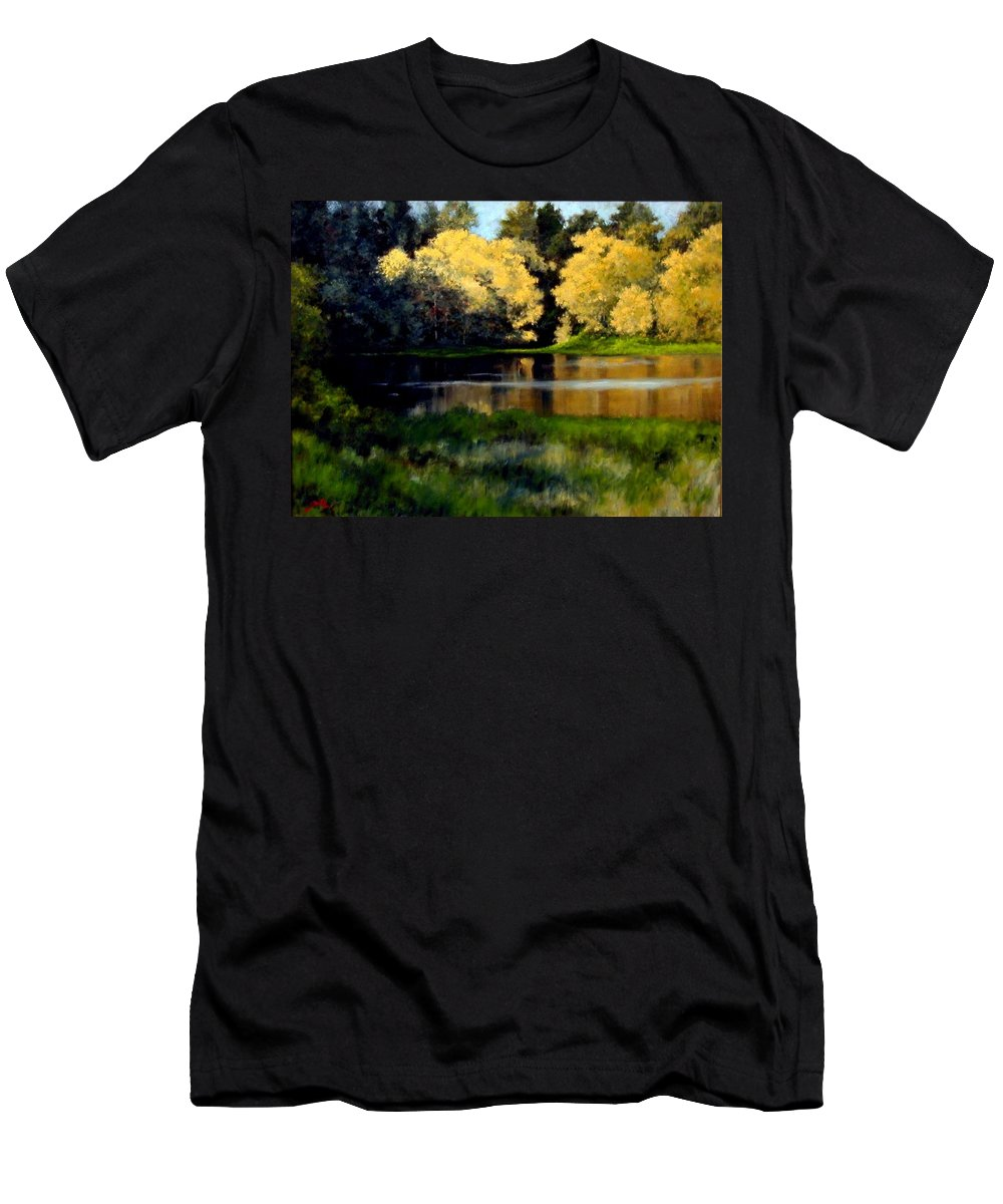 Landscape Men's T-Shirt (Athletic Fit) featuring the painting Nature Walk by Jim Gola