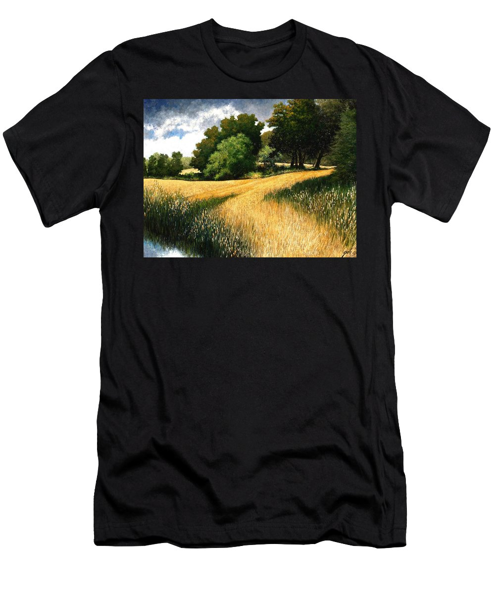 Landscape T-Shirt featuring the painting Nature Walk Ridgefield Washington by Jim Gola