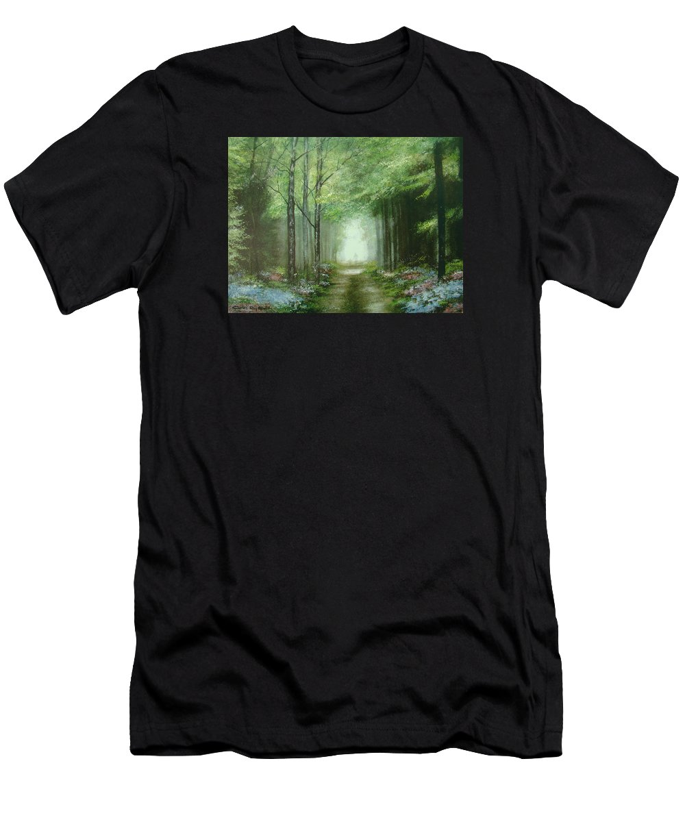 Charles Roy Smith Men's T-Shirt (Athletic Fit) featuring the painting Nature's Cathedral by Charles Roy Smith