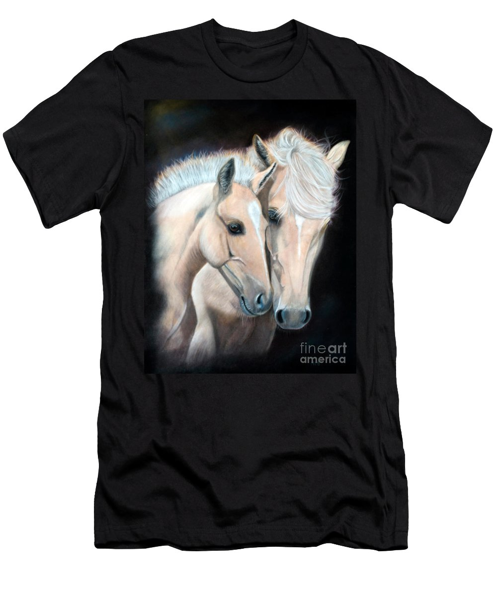 Horse Men's T-Shirt (Athletic Fit) featuring the pastel Nature's Gold by Marianne Harris