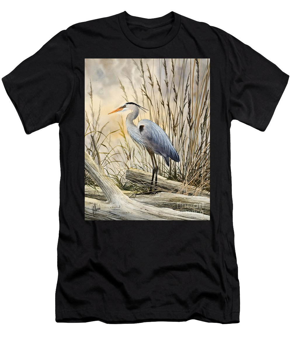 Heron Fine Art Prints Men's T-Shirt (Athletic Fit) featuring the painting Nature's Wonder by James Williamson