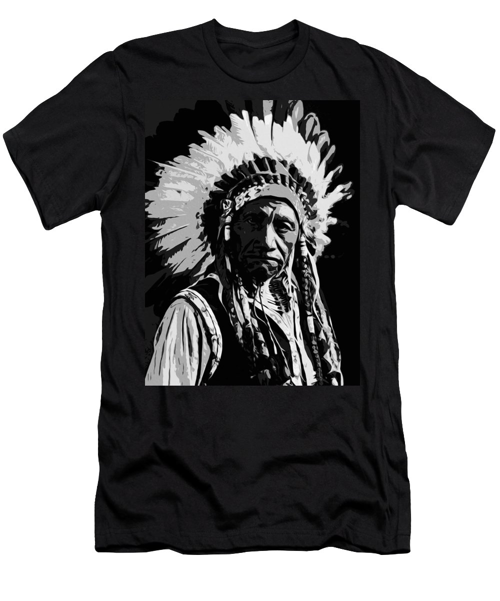 Portrait Men's T-Shirt (Athletic Fit) featuring the painting Navajo Indian Chief by Andrea Mazzocchetti