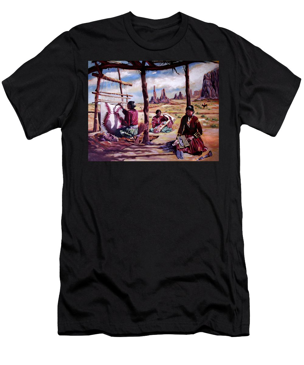 Native American Men's T-Shirt (Athletic Fit) featuring the painting Navajo Weavers by Nancy Griswold