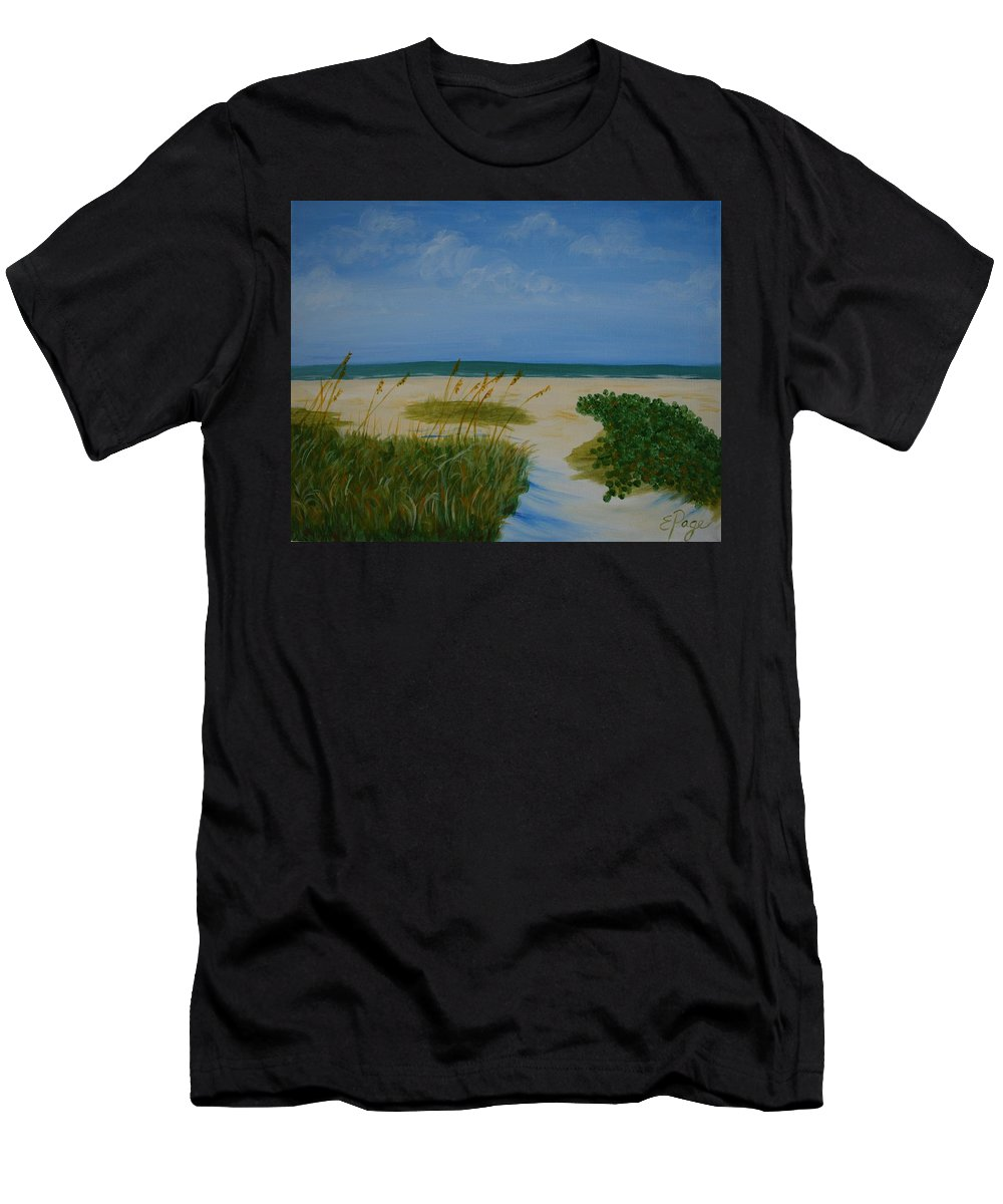 Beach Men's T-Shirt (Athletic Fit) featuring the painting Nc Beach by Emily Page