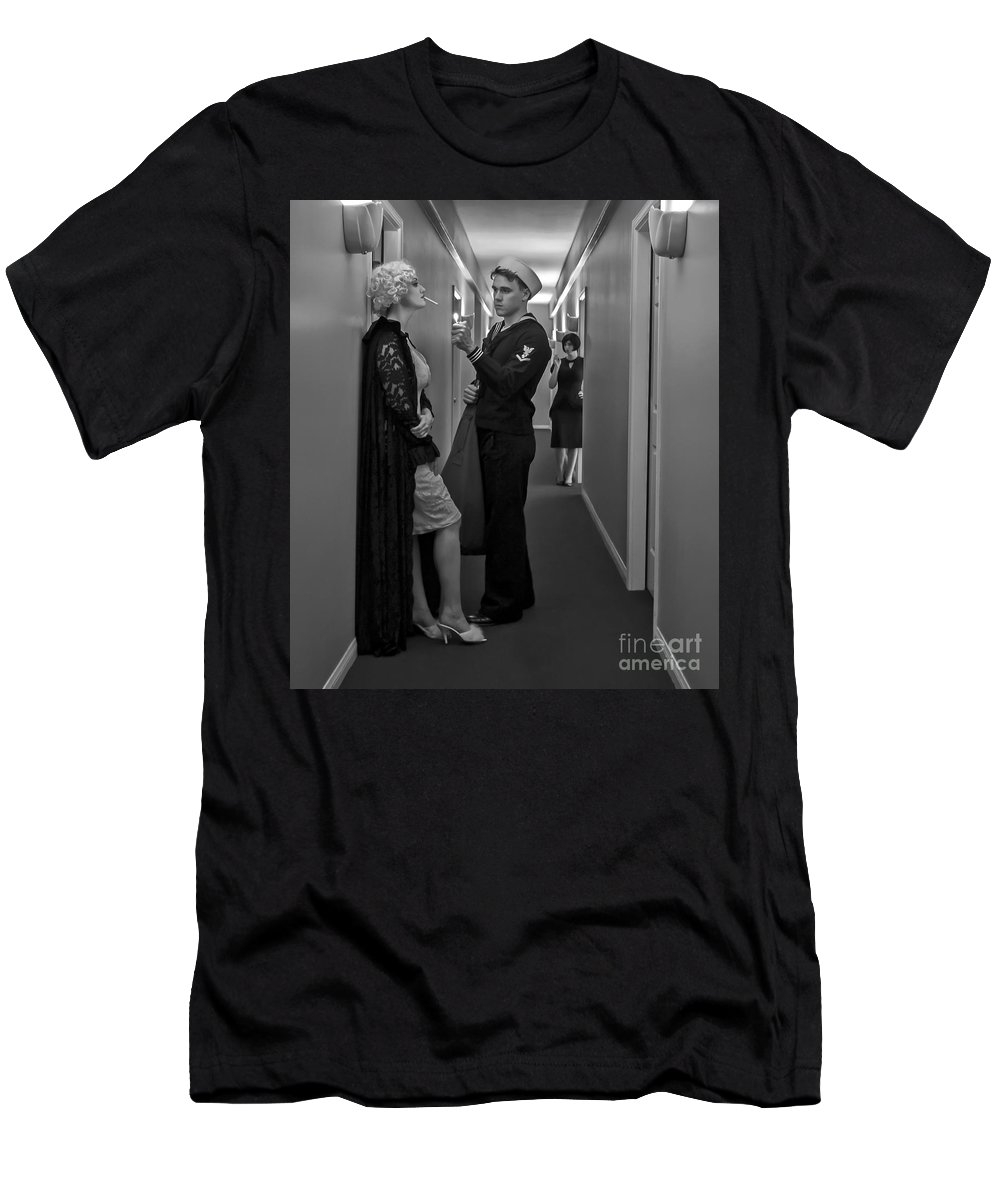 Bella Maggiore Men's T-Shirt (Athletic Fit) featuring the photograph Need A Light? by Sad Hill - Bizarre Los Angeles Archive