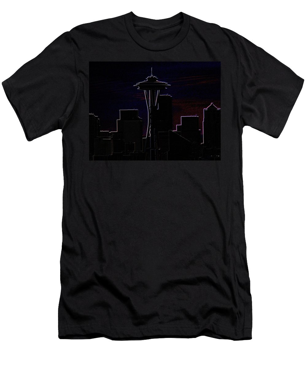 Seattle Men's T-Shirt (Athletic Fit) featuring the photograph Needle From Kerry Park 2 by Tim Allen