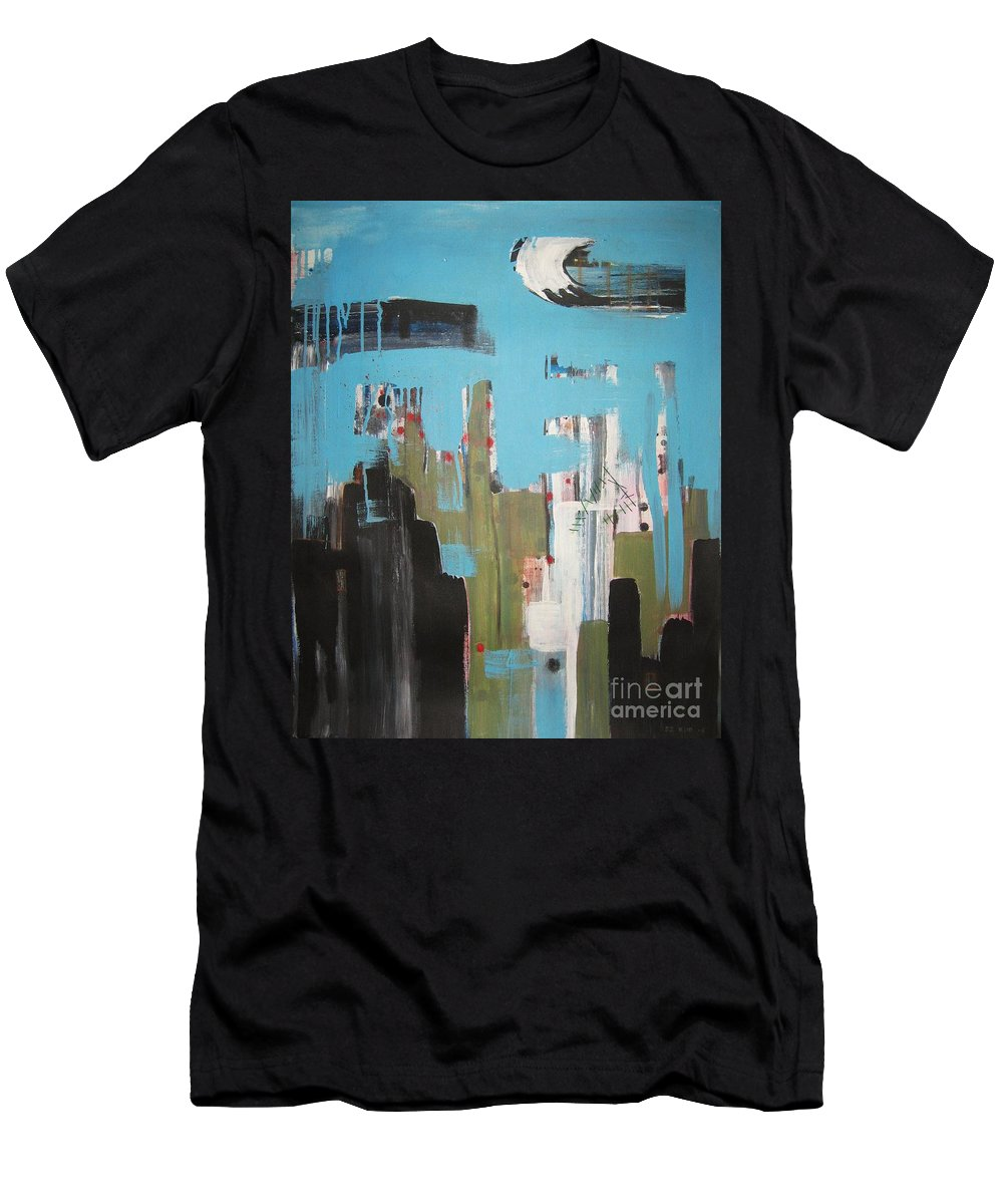 Abstract Paintings Men's T-Shirt (Athletic Fit) featuring the painting Neglected Area by Seon-Jeong Kim