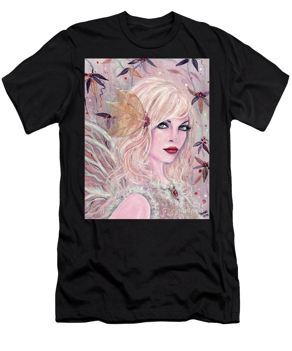 Winter Fairy Men's T-Shirt (Athletic Fit) featuring the painting Neira Winter Fairy by Renee Lavoie