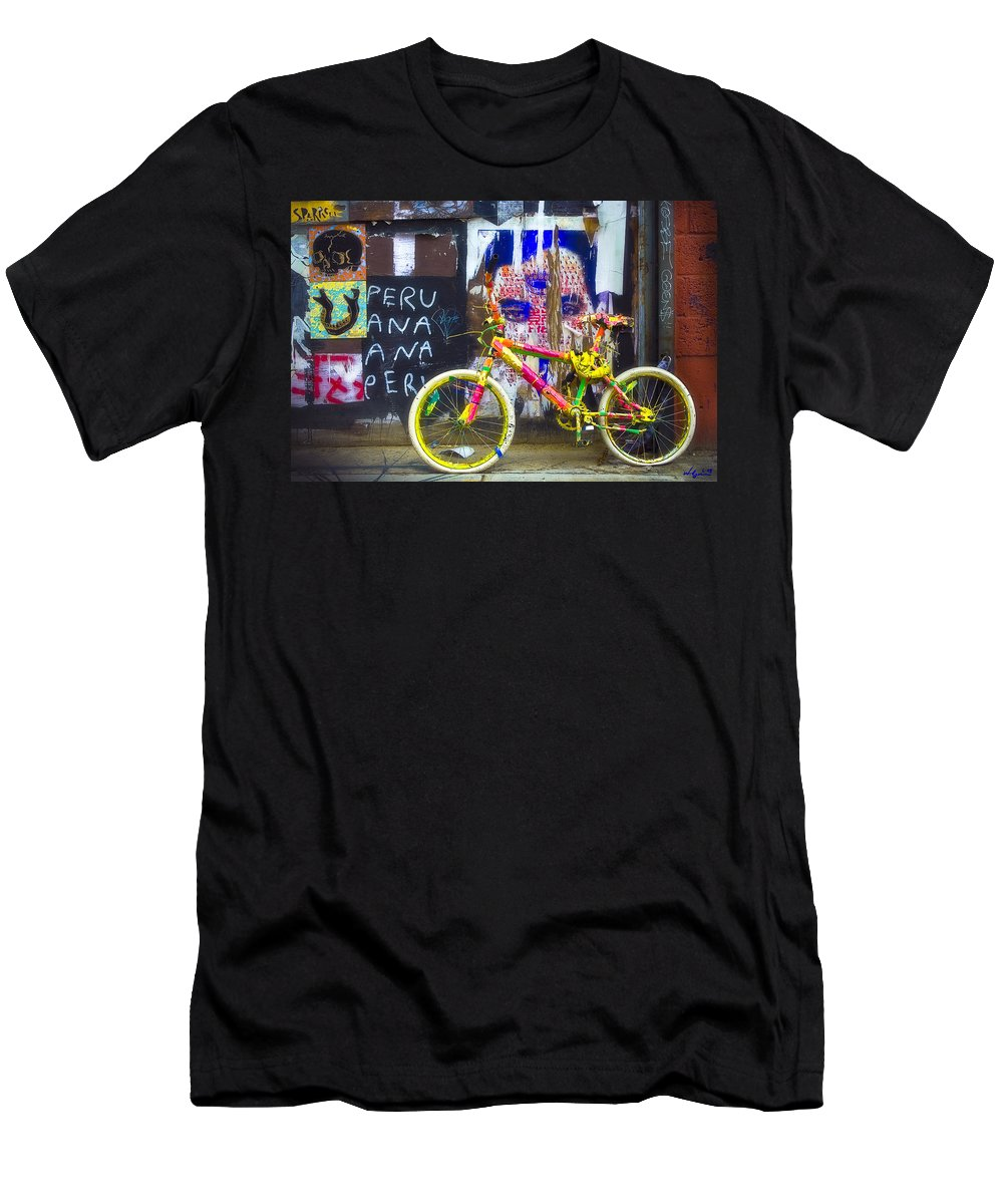 Graffiti Men's T-Shirt (Athletic Fit) featuring the photograph Neon Bike by William Alger